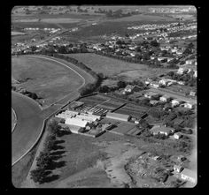 Aerial photograph taken by Whites Aviation. Quantity: 1 b&w original negative(s). Auckland, Stables, Historical Photos, New Zealand, City Photo, Historical Pictures, Horse Stables, Run In Shed, History Photos