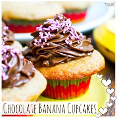 Vegan Chocolate Banana Cupcakes. This recipe was originally intended for Valentine's Day, but we like to break the rules around here.