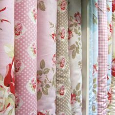 Petal (Tanya Whelan for FreeSpirit) : 1950s style cabbage roses, polka dots, gingham checks and floral stripes appear across the collection in an ice cream palette of vanilla, cherry red, taupe, pale icing pink and baby blue.  Petal collection fabrics are equally suitable for traditional floral quilts or shabby chic and vintage-inspired home decor projects – cushions or curtains in this range should give any room a period flavour.