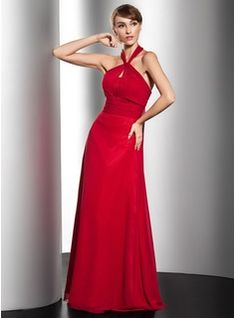 A-Line/Princess Halter Floor-Length Chiffon Evening Dress With Ruffle Bow(s)