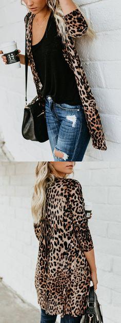 4061cb2cb59ca0 Brown Velvet Leopard Print Button Placket Front Long Sleeve Cardigan -  Choies.com