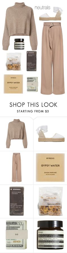 """neutrals"" by ellieepp on Polyvore featuring Rejina Pyo, Manebí, SUNO New York, Byredo, Korres, Jack Spade and Aesop"