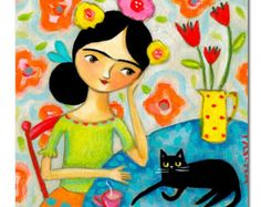ORIGINAL black cat and FRIDA Kahlo painting impressionist folk art painting by TASCHA