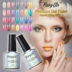 FairyGlo Neon Color Nail Polish Bling Platinum Glitter Semi Perman Polish Soak Off GelLak Hybird Vernish Holographic Shilak Price: USD Uv Gel Nail Polish, Uv Gel Nails, Uv Led, Neon Colors, Holographic, Lipstick, Bling, Glitter, January 2018