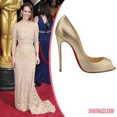 "Sarah Paulson in Christian Louboutin Youpi Gold Glitter Peep-Toe Pumps  ""2014 Academy Awards"" - ShoeRazzi"