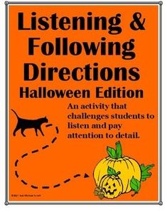 Practice listening and following directions with this engaging Halloween themed activity. Includes 2 listening activities that will challenge students to closely follow directions. Bonus student pages are included so that this lesson can easily be converted to a reading compression activity. Great for stations and Halloween classroom parties. Perfect for grades 3rd, 4th, 5th, 6th, 7th, 8th and even high school! Reading Comprehension Activities, Listening Activities, Active Listening, Listening Skills, Classroom Activities, Listening And Following Directions, Following Directions Activities, Creative Thinking Skills, Classroom Halloween Party