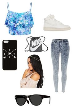 """""""somewhere out there someone cares about your problems it may not be me but someone cares"""" by fasionrebel ❤ liked on Polyvore featuring moda, River Island, Forever New, NIKE y Oliver Peoples"""