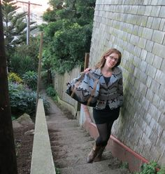 Graphic tribal print neutral striped jacket and matching Cooper backpack.