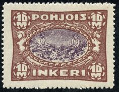 """North Ingermanland 1920 Scott 14 10m brown & violet """"Peasants playing Zithers"""" Swedish Names, Postage Stamps, Finland, Vintage World Maps, Brown, Brown Colors, Stamps"""