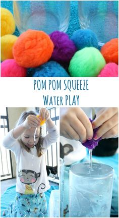 om Pom Squeeze Water Play Fine Motor Activity for Toddlers and Preschoolers