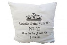 French Script Pillow Cover and Insert