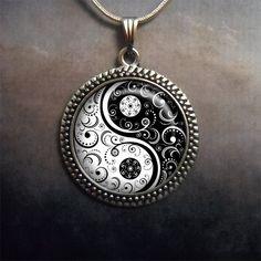 Black and White Yin Yang glass pendant, Yin Yang jewelry, Zen jewelery, Oriental jewelry, jewellery on Etsy, $12.50