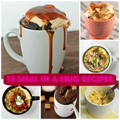 18 Meals in a Mug Recipes: Breakfast, Snacks, Dinner and Desserts! Cinnamon Roll in a Mug sounds so good!