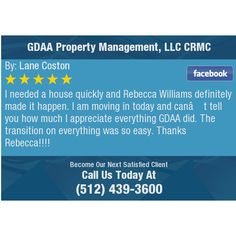 I needed a house quickly and Rebecca Williams definitely made it happen. I am moving in...