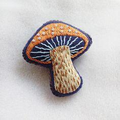 Hand Embroidered Mushroom Felt Brooch Handmade Woodland Theme