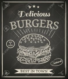 Burger House Poster On Chalkboard Royalty Free Cliparts, Vectors ...