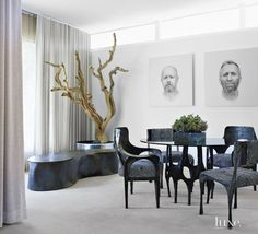 A 1960s stucco-and-concrete block house situated beside a golf course is revamped with contemporary furnishings.