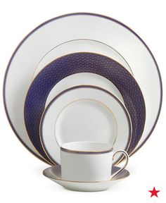 Let your wedding colors extend to your registry too! If you love navy and gold, then you'll adore this Waterford Lismore Diamond Lapis bone china dinnerware. Add it your wedding registry at macys.com now!