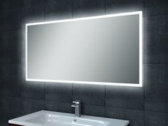 Ledspiegel Wiesbaden Quatro-Led dimbare condensvrije spiegel 120 x 60 cm Downstairs Toilet, Led Mirror, Mirrors, Simple Bathroom, Easy Bathrooms, Bedroom Lighting, Bathroom Furniture, House Party, Contemporary Design