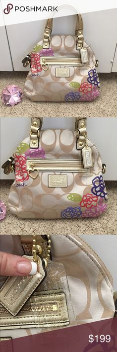 NWOT Coach poppy shoulder bag Brand-new with zero blemishes coach poppy bag and tan and gold with red interior and colorful flower embellishments. Absolutely beautiful bag! TNK8152 Coach Bags Shoulder Bags