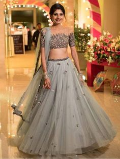 Two Piece Prom Dresses Scoop Floor-length A-line Tulle Sparkly Long Prom Dress - Designer Dresses Couture Indian Lehenga, Lehenga Choli, Anarkali, Patiala Salwar, Indian Wedding Outfits, Bridal Outfits, Wedding Attire, Indian Designer Outfits, Designer Dresses