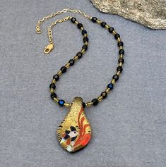 Colorful Foil Glass Pendant Necklace Teardrop Pendant Beaded Necklace Statement Pendant Necklace Unique Jewelry Womens Gift for Mom for Wife Mother Day Gifts, Gifts For Mom, Great Gifts, Unique Necklaces, Unique Jewelry, Creative Christmas Gifts, Beaded Necklace, Pendant Necklace, Glass Pendants