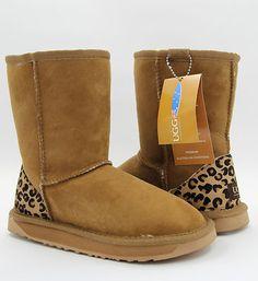 UGG Classic Short Boots Leopard Print Chestnut Premium Australian Sheepskin | eBay
