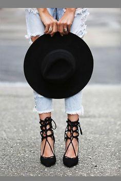 Women's Fashion High Heels : Jeffrey Campbell Free People Hierro Heels // Lace-up black heels Schnür Heels, Pumps, Suede Heels, High Heels, Denim Heels, Lace Heels, Strappy Heels, Chloe Bag, Crazy Shoes