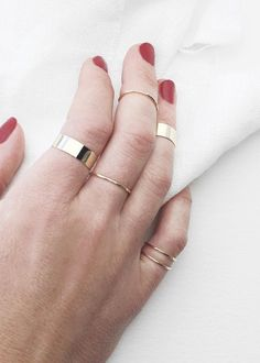 Gold stacking rings by Vrai & Oro.  Always 14k solid gold, so they never fade or change color. #truthandgold