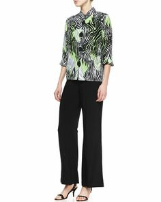Margarita Zebra Linen Jacket & Wide-Leg Stretch Pants, Women\'s  by Caroline Rose at Neiman Marcus.