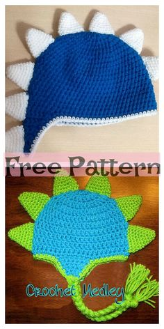 Crochet Dinosaur Spike Hat - Free Pattern This Crochet Dinosaur Spike Hat will be a great project to make, and a child would look really cute in it! Crochet Dinosaur Hat, Crochet Dinosaur Patterns, Crochet Dragon, Crochet Patterns, Crochet Ideas, Crochet Baby Boots, Crochet Kids Hats, Crochet For Boys, Free Crochet