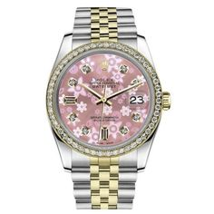 Pre-owned Rolex Datejust Two Tone Glossy Pink Flower Dial With Diamond... ($5,499) ❤ liked on Polyvore featuring jewelry, watches, flower jewellery, rolex, 2 tone watches, polish jewelry and flower watches