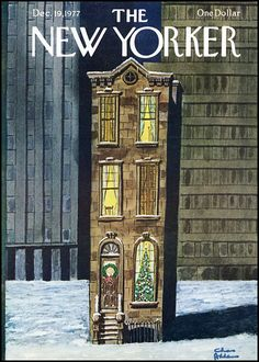 The New Yorker cover by Charles Addams, December 1977 Más The New Yorker, New Yorker Covers, Illustrations, Illustration Art, Charles Addams, Film Movie, Rhapsody In Blue, Vintage Christmas, Christmas Cover