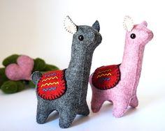 Llamas Kit Love - Llamas Enamoradas - Llamas de Fieltro de Lana - Llamas Amor - Llamas Muñecos - Llamas Handmade