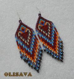 Long Indian style beads earrings , tribal style, boho style, Native American Beaded Earrings