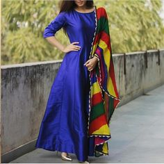 Blue Raw Silk Printed Semi Stitched Long Anarkali Suit