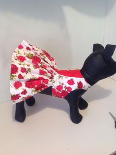 Beautiful red rose cotton dog dress for all by Preciouspupboutique