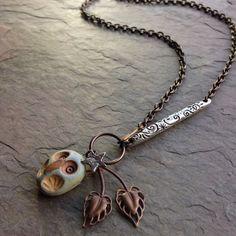 Oval Owl charm necklace by LoreleiEurtoJewelry on Etsy, $48.00