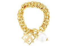 Fleur-de-Lis & Cotton Pearl Bracelet. Like it but to thick for me.