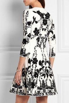 Alexander McQueen | Floral-intarsia stretch-knit mini dress | NET-A-PORTER.COM