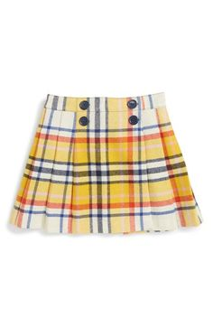 Free shipping and returns on Mini Boden Honeycomb Check Skirt (Toddler Girls, Little Girls & Big Girls) at Nordstrom.com. Add a supersmart touch to her wardrobe with a pleated plaid skirt featuring four mock buttons at the front for chic style.