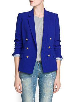Mango Women's Double-Breasted Blazer, Azul, S $59.99 #Mango #Jackets #Blazers