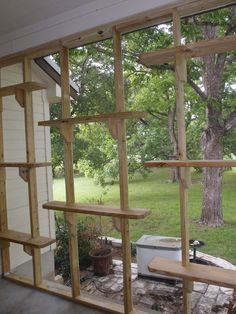 Cat Care The Cat Carpenter Porch Catio - using the screen supports to hold up shelves and perches. I owuld have a couple of them at comfortable height for human use Diy Cat Enclosure, Outdoor Cat Enclosure, Reptile Enclosure, Cat Habitat, Cat Run, Cat Towers, Cat Playground, Outdoor Playground, Cat Shelves