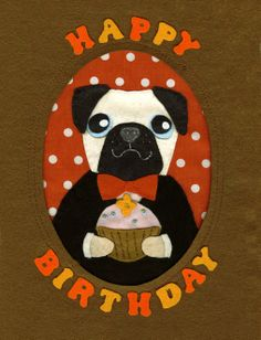 pug -  Greeting card design for earlybird