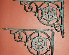 Vintage-look Ships Wheel, Wall Shelf brackets, free shipping, bronze look helm, cast iron shelf brackets, maritime decor, B-31 by wepeddlemetal. Explore more products on http://wepeddlemetal.etsy.com