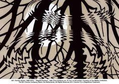 Escher; linocut - reflections