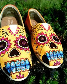 AWESOME! Made to Order Custom Painted TOMS Sugar Skull by TheMermaidsChest, $175.00