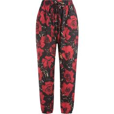 Anna Sui Floral Harem Pants ($135) ❤ liked on Polyvore featuring pants, bottoms, trousers, florals, floral harem pants, relaxed pants, floral crop pants, cropped pants and flower print pants