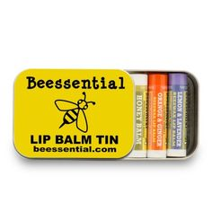 ick Your Own Lip Balm Tin 5-Pack  Now you can make up your own Custom  Five-Pack of Lip Balms.  Chose one flavor, or go crazy and chose five different flavors for those days when you need to change things up. Beessential's Pick Your Own Lip Balm Gift Tin is the perfect present for friends, family, teachers, the babysitter or just bee-u-tiful you!  Made with Coconut and Olive Oils Gentle, All-Natural Beeswax Lip Balms Healing Shea and Cupuacu