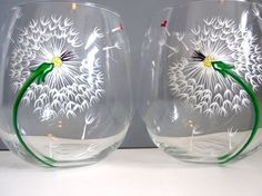Wine Glasses painted with Dandelions.